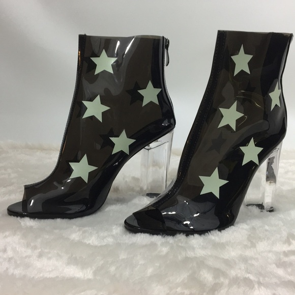 25c213eae61 Black Clear Ankle Boots with Clear Block Heel Star